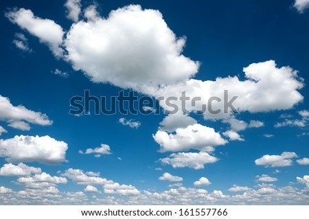 bright contrast sky with clouds - stock photo