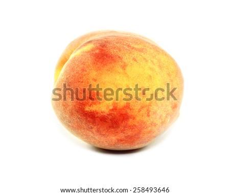 bright delicious ripe peach on a white background - stock photo