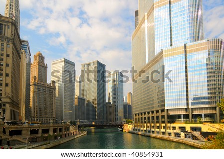 Bright early morning on the Chicago River, looking toward the Financial District from Michigan Avenue - stock photo