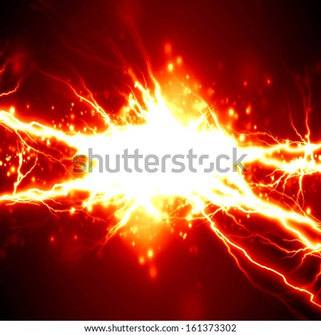bright electrical spark on a dark red background - stock photo