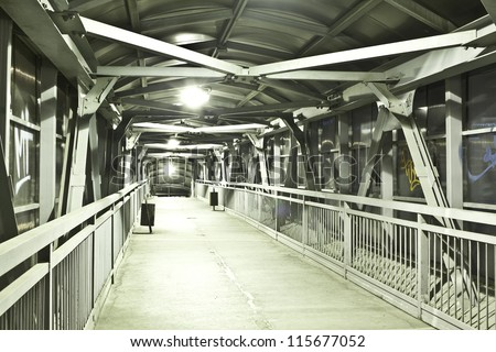 Bright elevated walkway - stock photo