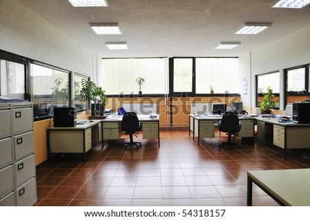 bright empty office indoor with computers