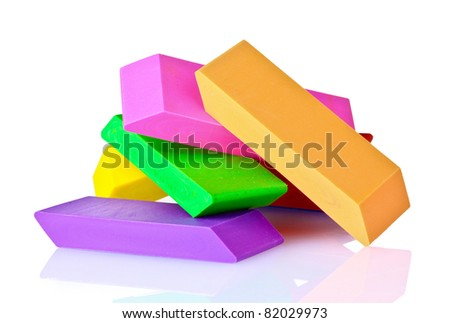 bright erasers isolated on white