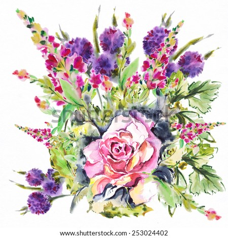 """Bright exotic bouquet from flowers , drawn with watercolor paints.Album """"Bouquet of flowers."""" """"New bouquets bu a holiday from water color flowers"""".""""Roses watercolor"""" - stock photo"""