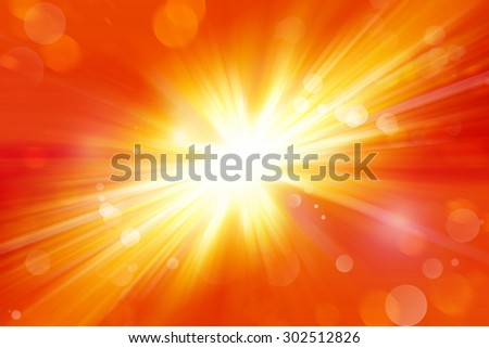 Bright explosion. Circles on yellow and orange background  - stock photo