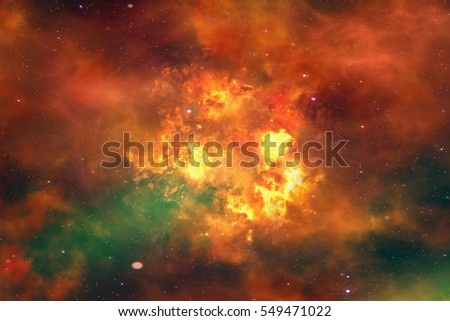 bright explosion flash on a space backgrounds. fire burst