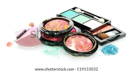 bright eye shadows and rouge with applicator, isolated on white