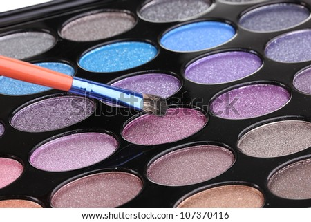 Bright eye shadows close-up
