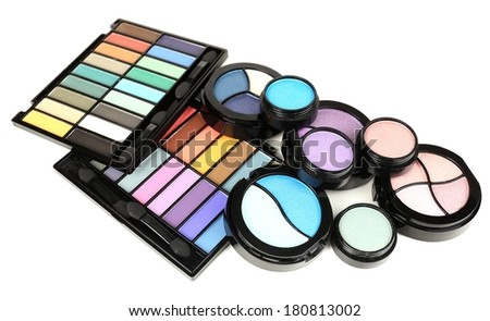 Bright eye shadows isolated on white - stock photo