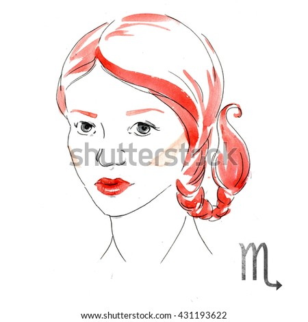 bright fashion illustration, girl with red lips,zodiac sign, watercolor illustration of woman,Scorpio - stock photo