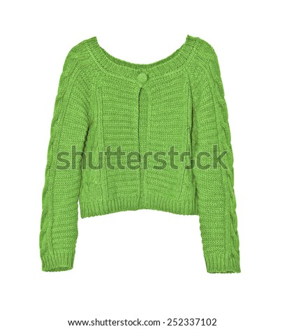Bright female green sweater on a white background - stock photo