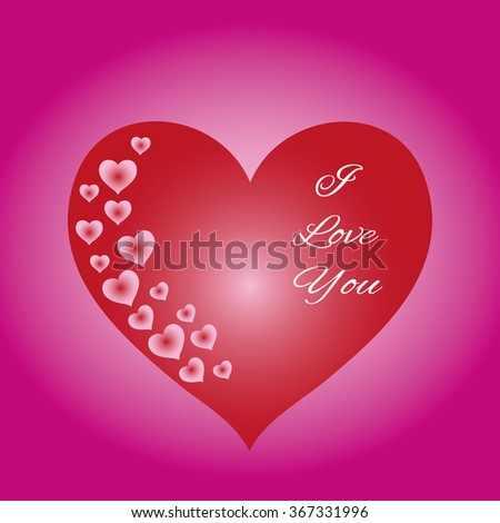 Bright festive pattern of hearts on a pink background and text elements. Romantic card for Valentine's Day, greeting a loved one, to the wedding. illustration - stock photo