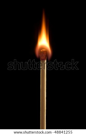 Bright fire on a black background. - stock photo