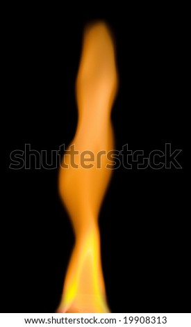bright flame over black background - stock photo