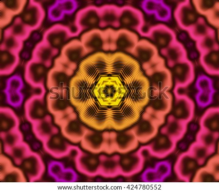 Bright floral colorful kaleidoscopic fractal pattern background with striped effect. Fractal mandala. - stock photo