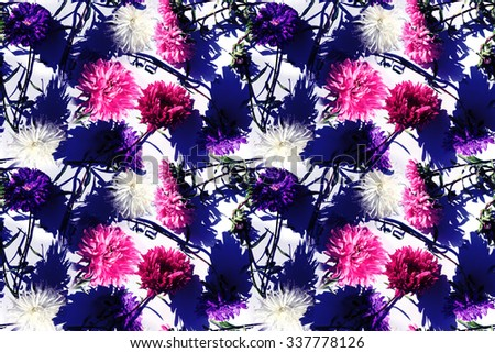 Bright floral pattern on a light background. Dark flowers, black flowers, red flowers pattern seamless. Retro colorful asters. Effect Realistic Photo collage for floral art design. - stock photo
