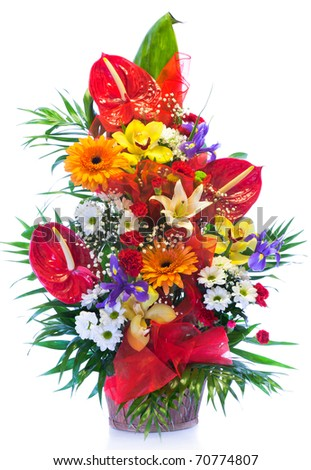 Bright flower bouquet isolated on white - stock photo