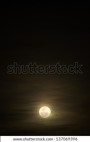 Bright Full Moon and Light Cloud in Black Sky at Night