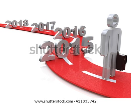 Bright future success concept 3d illustration 2015 in the design of information related to the future.3D Illustration - stock photo
