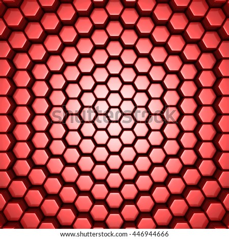 Bright Futuristic Red Hexagon Blocks Background. 3d Render Illustration - stock photo