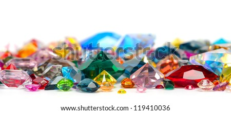bright gems isolated on white background - stock photo