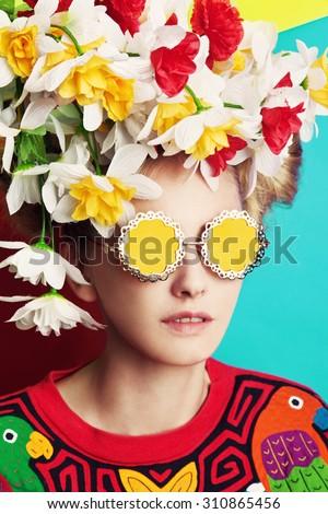 Bright girl  - stock photo