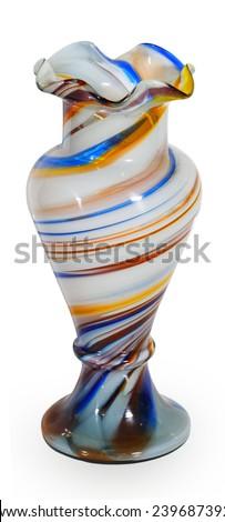 Bright glass vase isolated on white background - stock photo