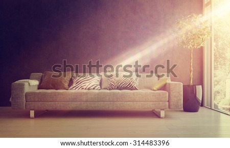 Bright glowing beam of sunlight falling on a comfy sofa and potted tree in a homely living room interior. 3d Rendering - stock photo