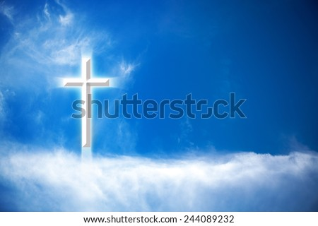 Bright Glowing Cross In The Clouds - stock photo