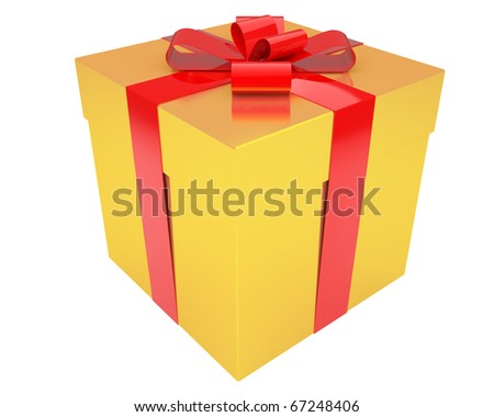 bright gold gift box with red ribbon isolated on white background - stock photo