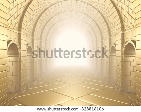 Bright Gold Vintage Column Tunnel. 3d rendering. - stock photo