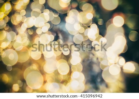 Bright Golden Lights. Vintage Magic Background With Color - stock photo