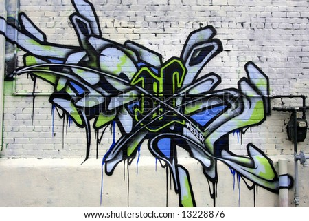 Bright Graffiti Art - Tag - stock photo