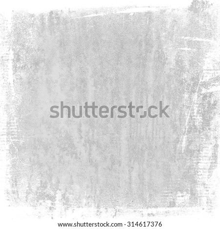 bright gray grunge background, watercolor painted canvas texture abstract brush strokes white frame - stock photo