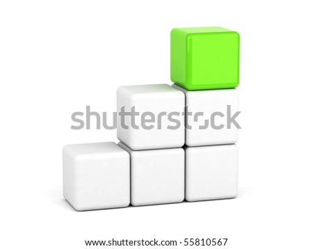 bright green cube leadership concept - stock photo