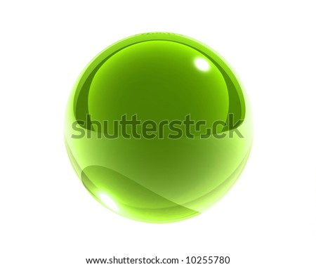 bright green glass sphere isolated - stock photo