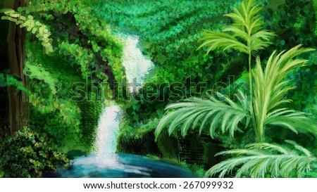 Bright green jungle and waterfall. Digital drawing, sketch - stock photo