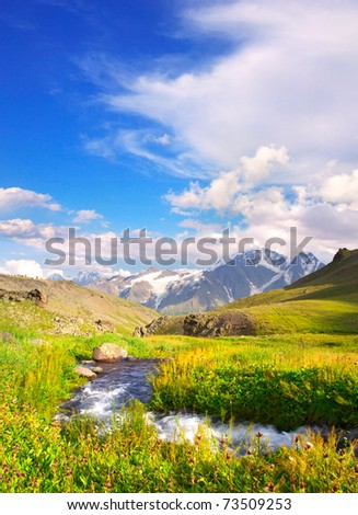 Bright green meadow with river on background of the high mountains and cloud - stock photo