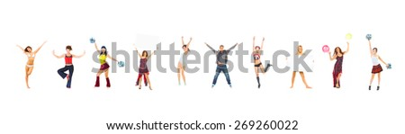 Bright Group Isolated over White  - stock photo