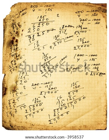 Bright grunge notebook page with calculations. Isolated on white