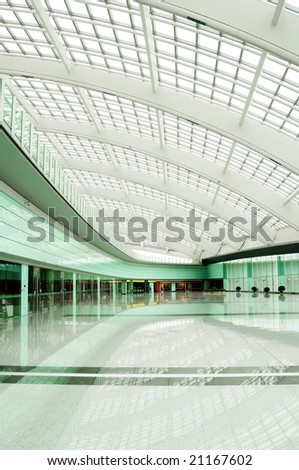 bright hall of the T3 airfield in Beijing, China. - stock photo