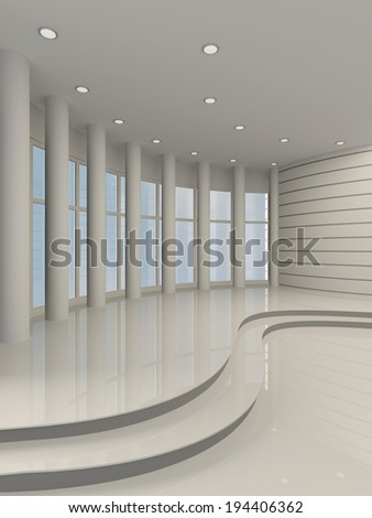 Bright hall with large windows and columns. 3D
