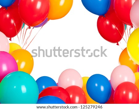 bright holiday cards from balloons - stock photo