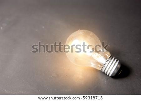 bright idea concept with light bulb - stock photo