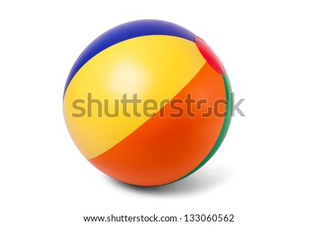 Bright inflatable ball on white background - stock photo
