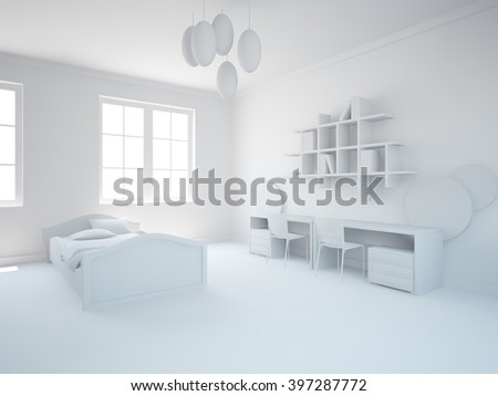 bright interior design of children room with grey furniture - 3d illustration - stock photo