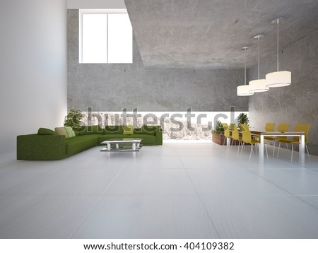 bright interior design of modern house with concrete wall and green furniture - 3d illustration