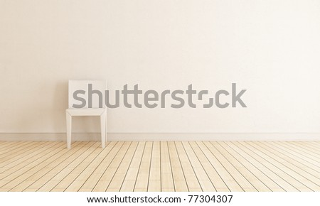bright interior with chair against wall - rendering