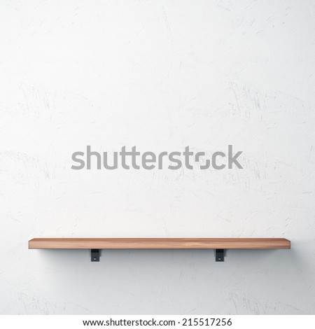 Bright interior with wood shelf on white wall - stock photo