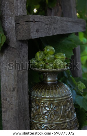 Bright, juicy gooseberries on a green background